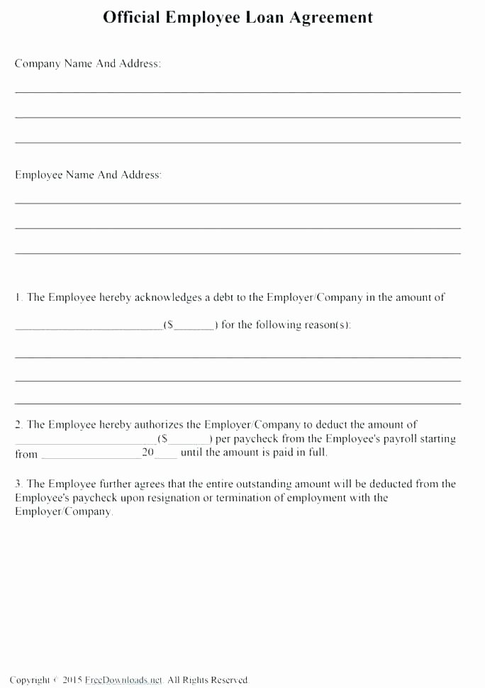 Loan Repayment Document Template Inspirational Employee Equipment Agreement Best Employee 2018