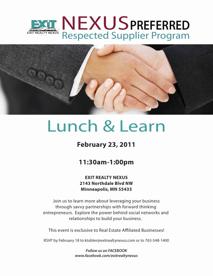 Lunch and Learn Invite Template Best Of Nexus Preferred Feb 23rd Lunch and Learn Invite