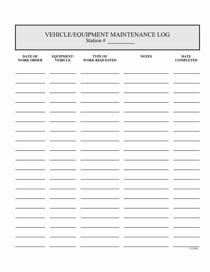 Machinery Maintenance Log Template Awesome 5 Equipment Maintenance Log Templates – Word Templates