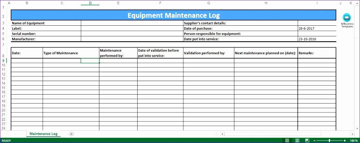 Machinery Maintenance Log Template Beautiful 6 Preventive Maintenance Template Excel Exceltemplates