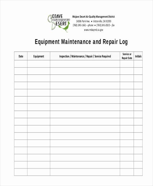 Machinery Maintenance Log Template Best Of 34 Free Log Sheet Samples & Templates