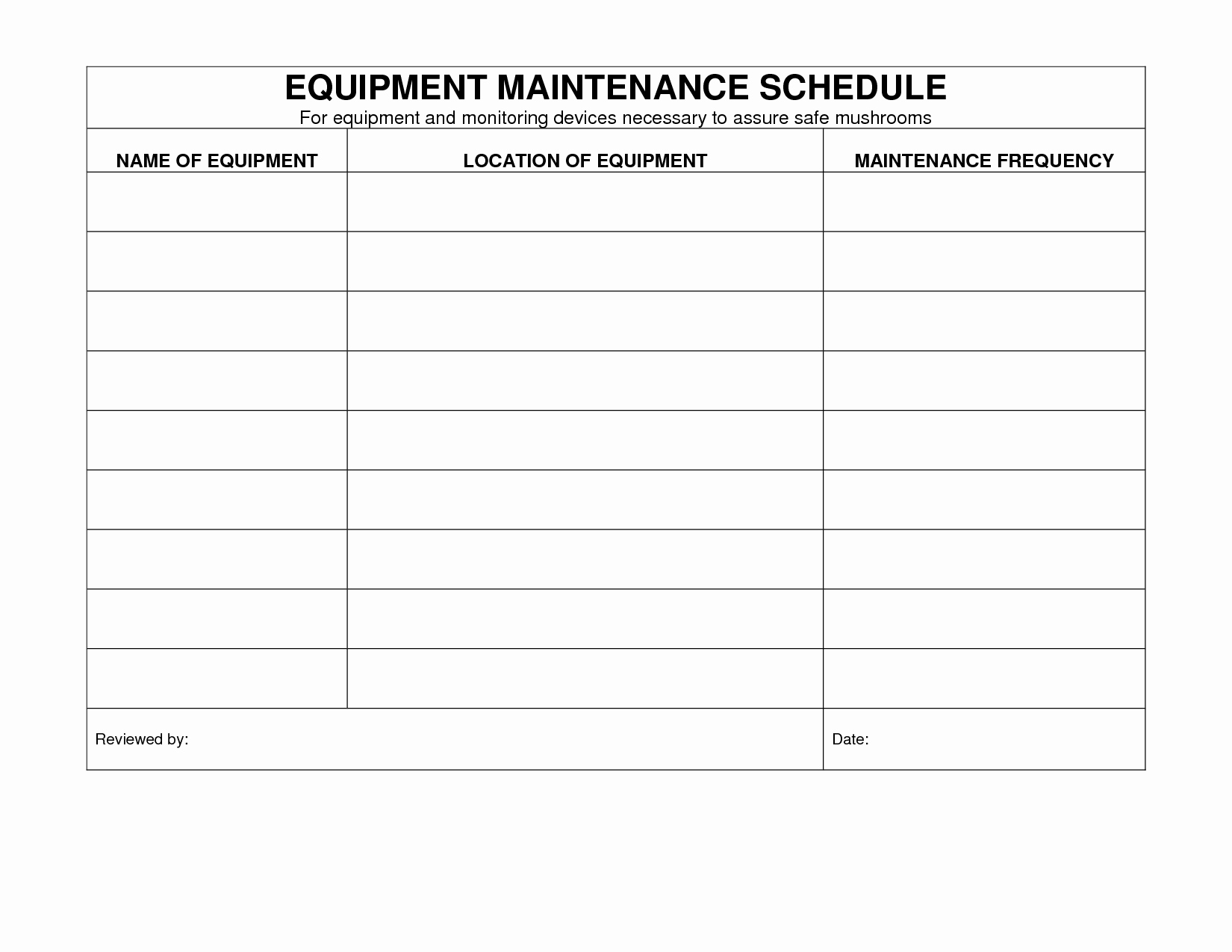 Machinery Maintenance Log Template Best Of Equipment Maintenance Schedule Template Excel