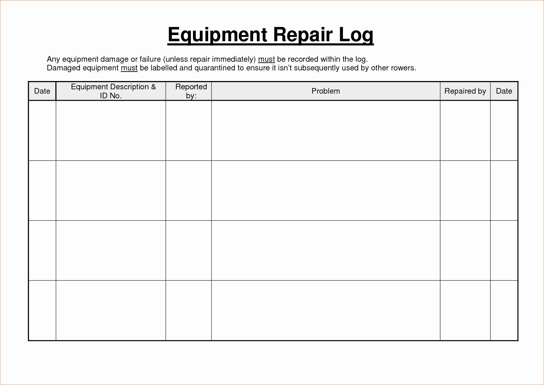 Machinery Maintenance Log Template Best Of Heavy Equipment Maintenance Log