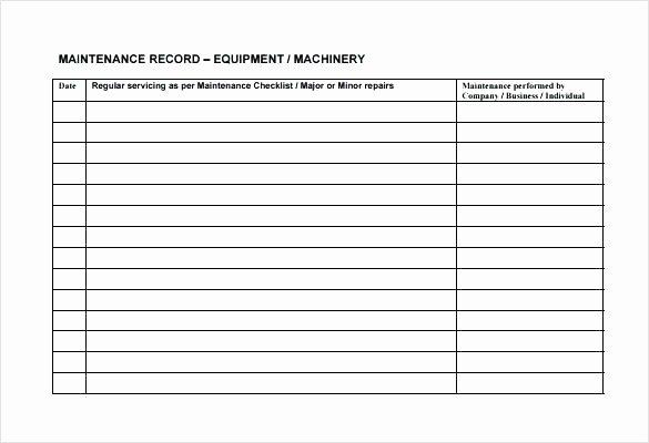 Machinery Maintenance Log Template Best Of Maintenance Log Template Planned Preventive Schedule Daily