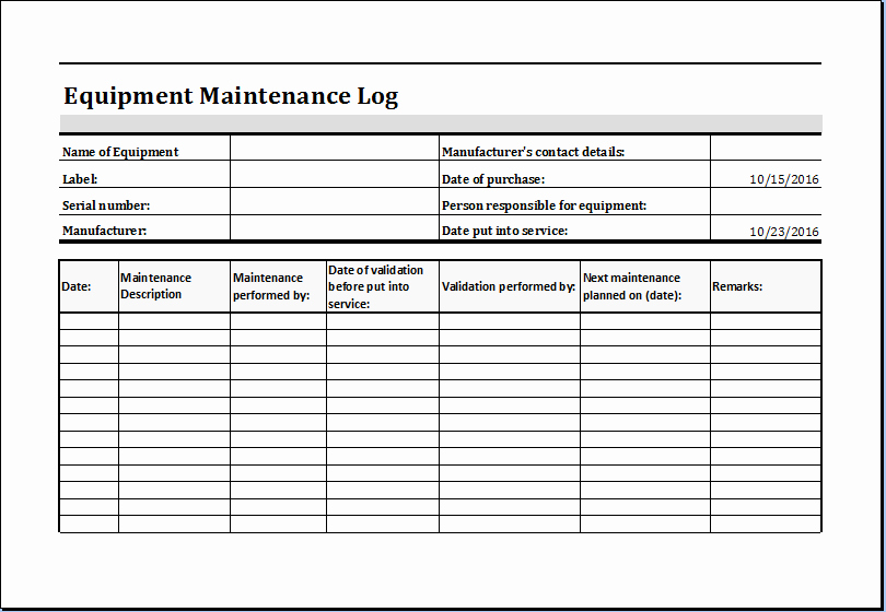 Machinery Maintenance Log Template Elegant Equipment Maintenance Log Template Ms Excel