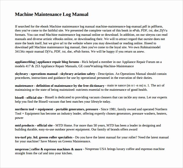 Machinery Maintenance Log Template Lovely 10 Maintenance Log Templates to Download