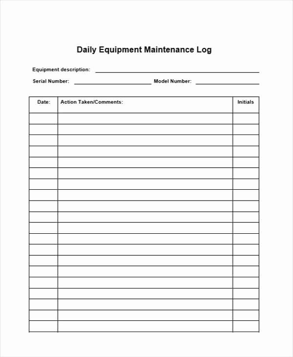 Machinery Maintenance Log Template Lovely 32 Sample Daily Log