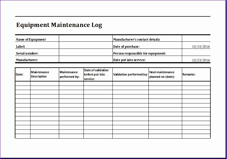Machinery Maintenance Log Template Luxury 11 Equipment Maintenance Log Exceltemplates Exceltemplates