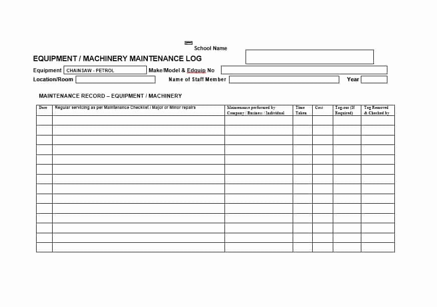 Machinery Maintenance Log Template Luxury 40 Equipment Maintenance Log Templates Template Archive