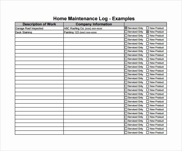Machinery Maintenance Log Template Unique 10 Maintenance Log Templates to Download