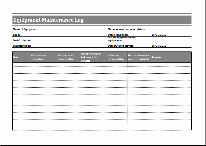 Machinery Maintenance Log Template Unique Equipment Maintenance Log Template