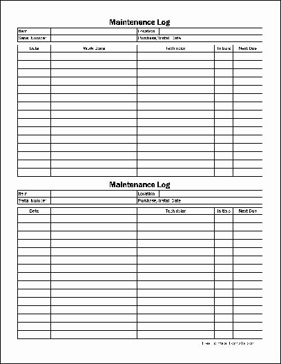 Machinery Maintenance Log Template Unique Free Easy Copy Small Detailed Maintenance Log Wide From