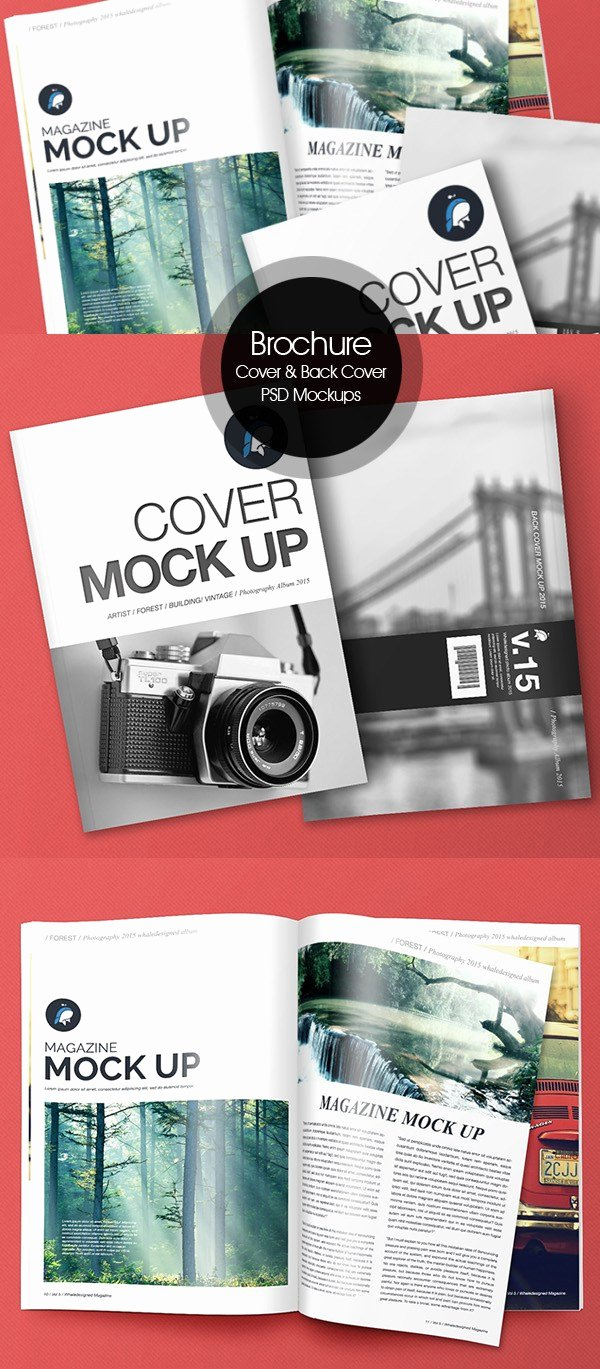 Magazine Cover Template Psd Fresh 50 Free Psd Magazine Book Cover & Brochure Mockups