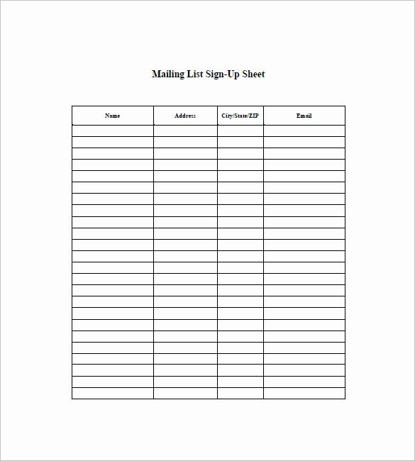 Mailing List Sign Up Template Beautiful List Templates 105 Free Word Excel Pdf Psd Indesign