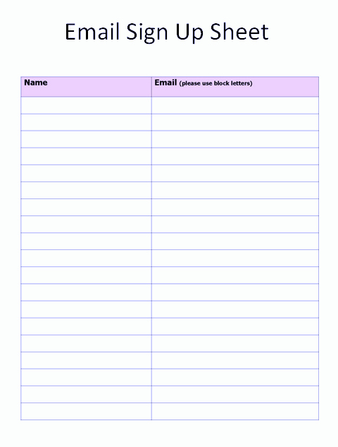 Mailing List Sign Up Template Luxury Free Sign Up Sheet Template Word Excel