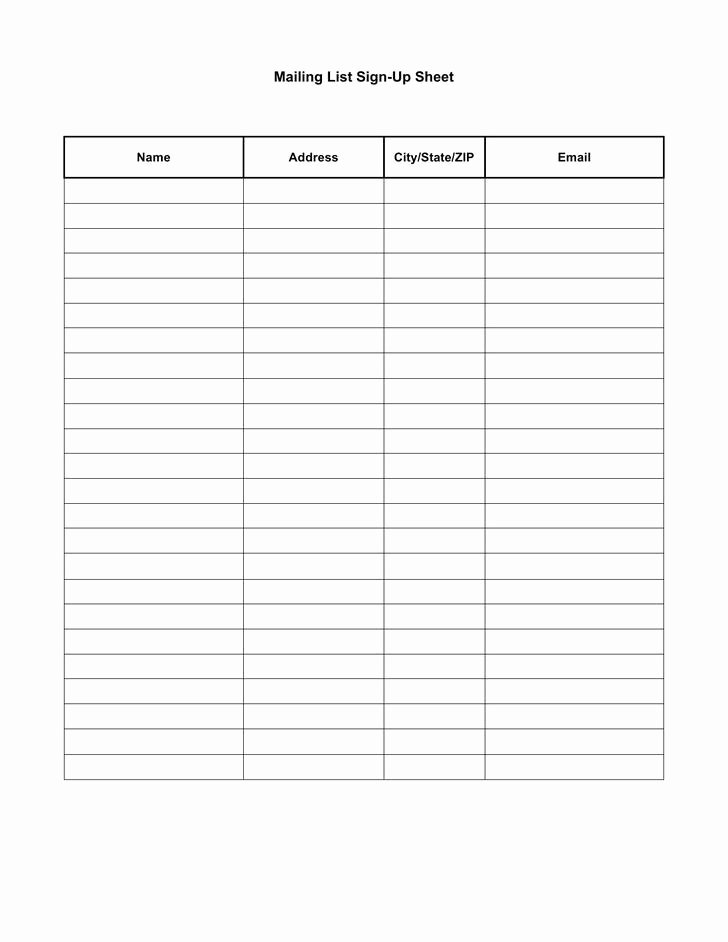 Mailing List Sign Up Template Unique 39 Sign Up Sheets Free Download