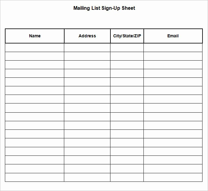 Mailing List Signup Template New Sign Up Sheets 58 Free Word Excel Pdf Documents