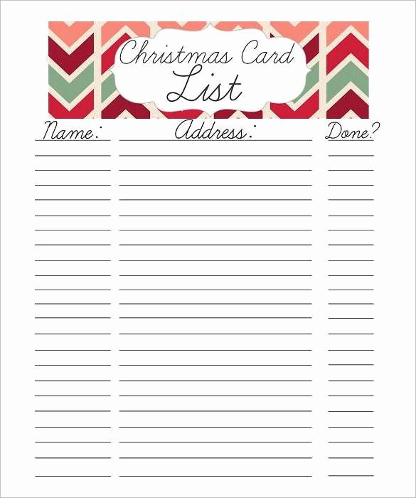 Mailing List Template Word Elegant Christmas Card Mailing List Template