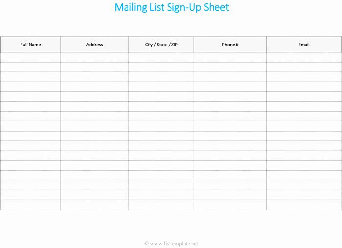 Mailing List Template Word Elegant Free Printable Mailing List Template for Word List Templates