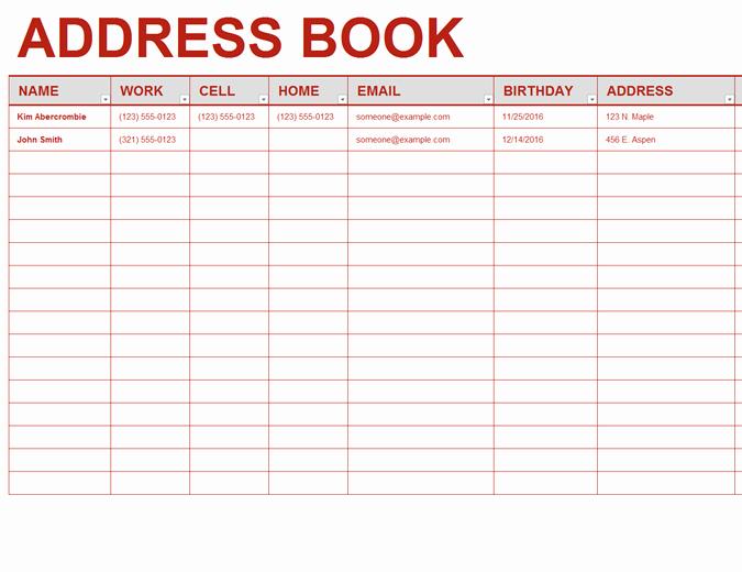Mailing List Template Word Elegant Personal Address Book