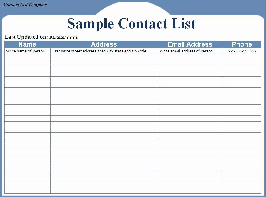 Mailing List Template Word Luxury Contact List Template Word Excel formats