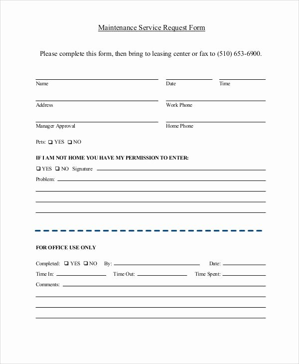 Maintenance Request form Template Beautiful 41 Sample Service forms