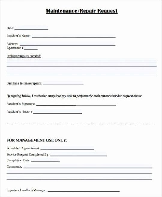 Maintenance Request form Template Beautiful Apartment Maintenance Request form Template Latest