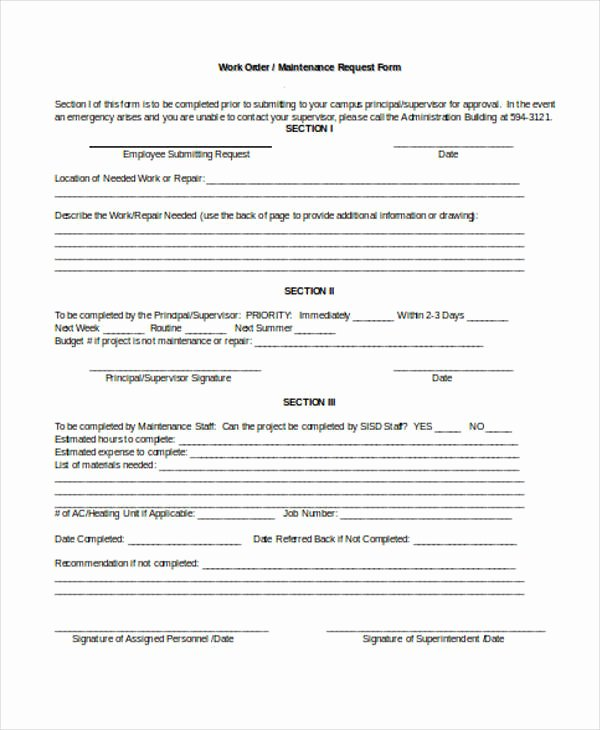 Maintenance Request form Template Best Of 22 Work order form Template