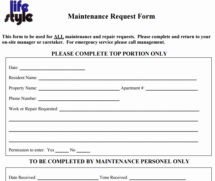 Maintenance Request form Template Luxury 6 Free Maintenance Request form Templates Word Excel