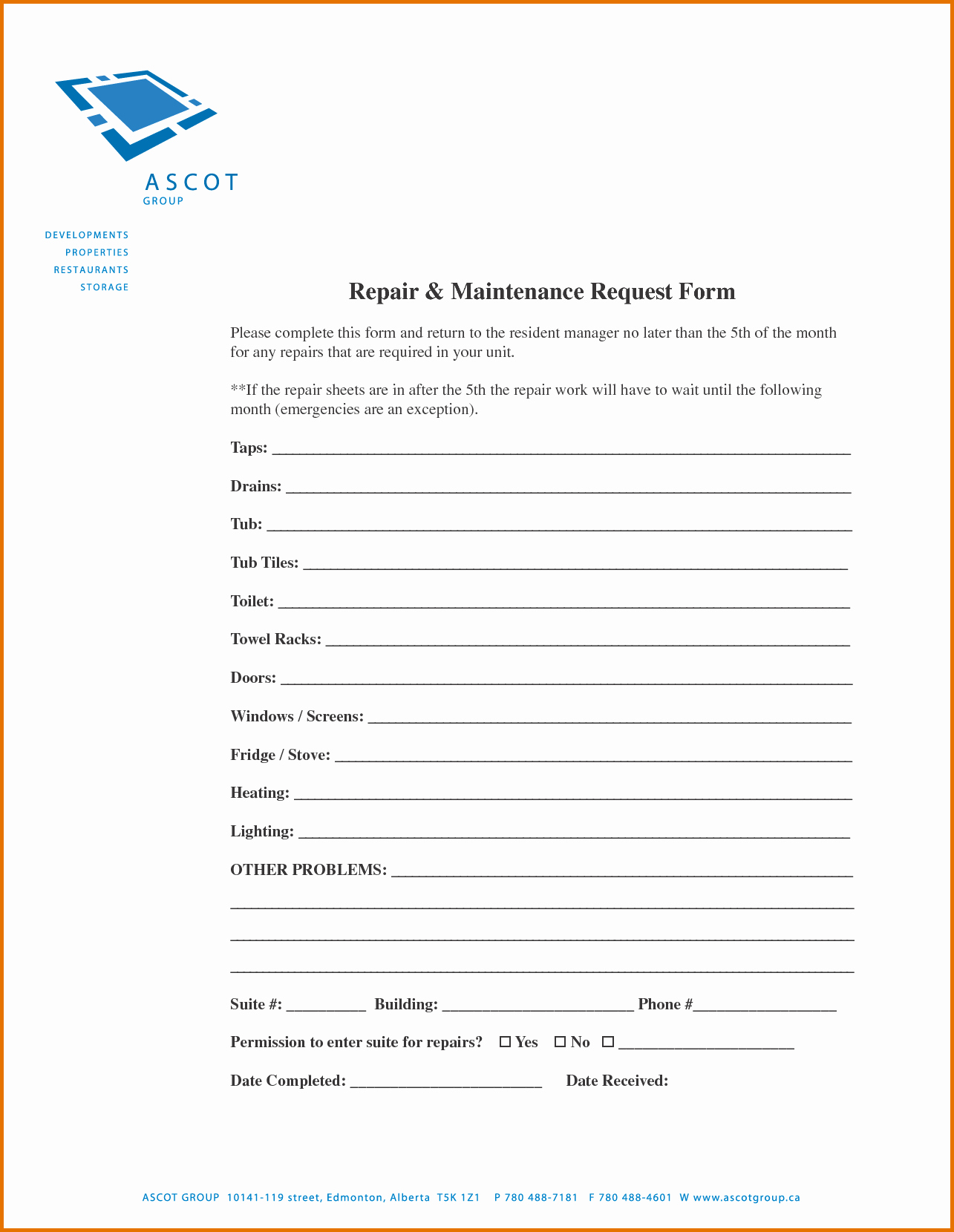 Maintenance Request form Template Luxury 7 Maintenance Request form Templatereference Letters