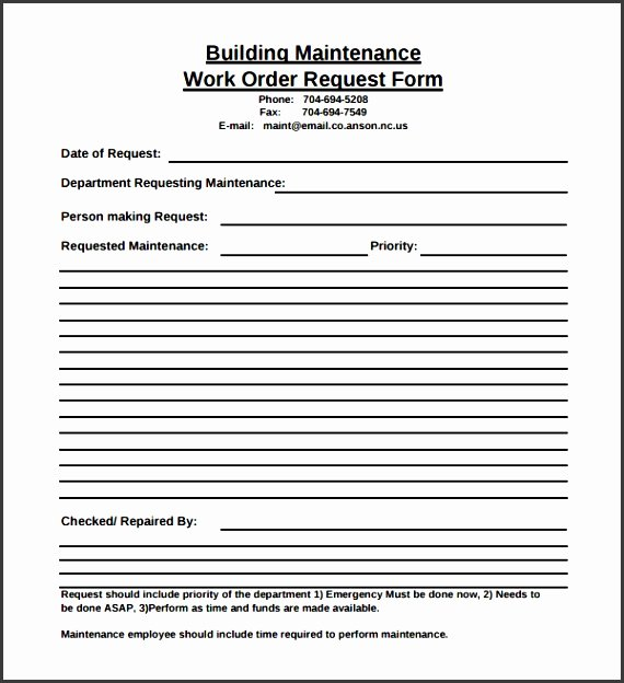 Maintenance Request form Template New 6 Maintenance Request form Template Sampletemplatess
