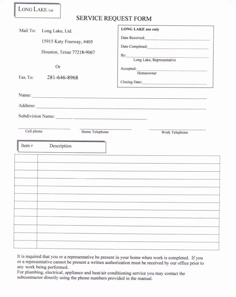 Maintenance Request form Template Unique 4 Service Request form Templates Word Word Excel Templates