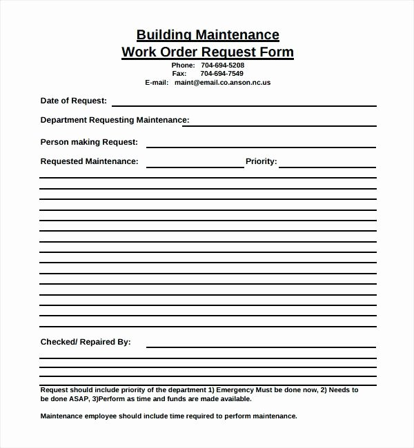 Maintenance Work order Template Excel Fresh Holiday Request forms In Excel Maintenance Template
