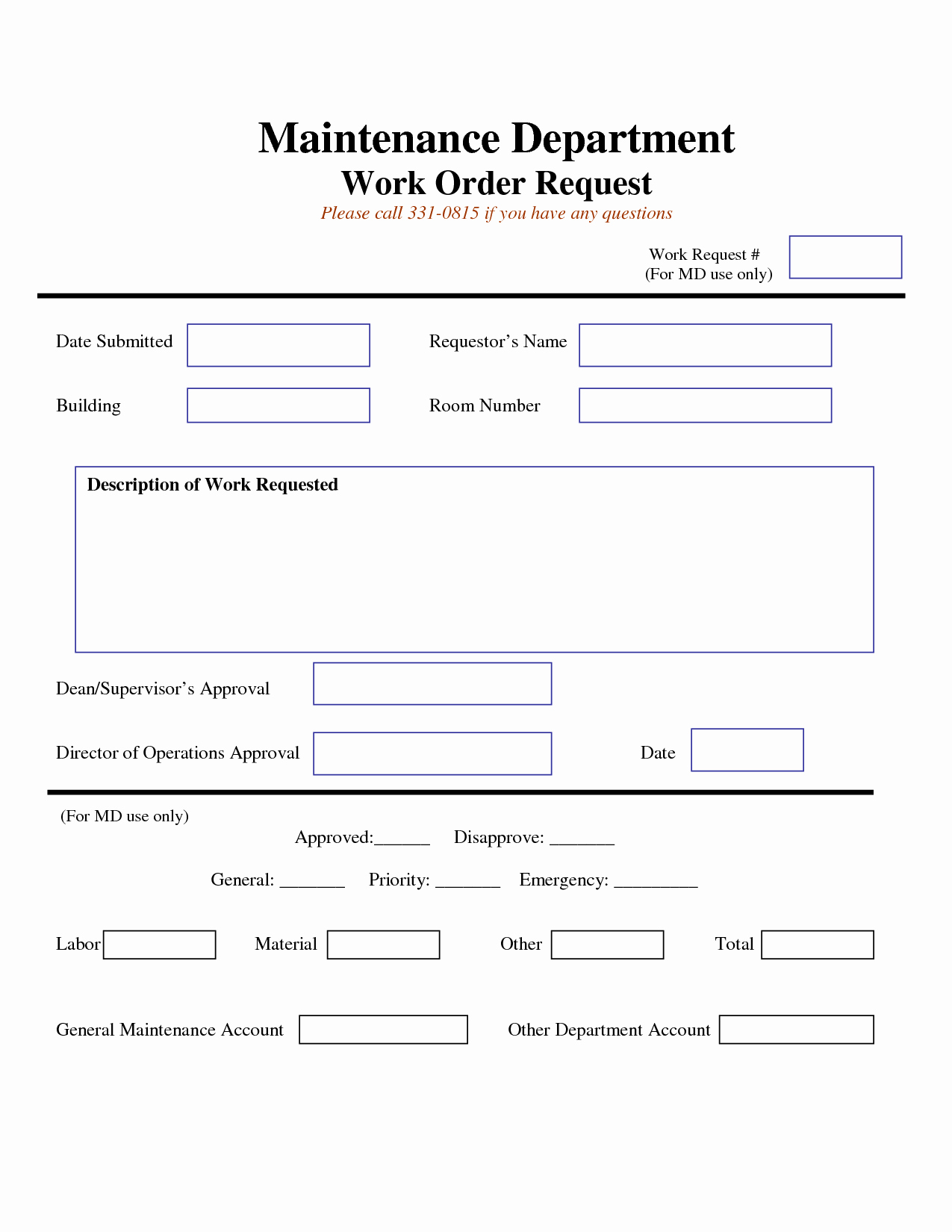 Maintenance Work order Template Excel Fresh Work Request form