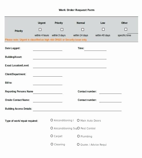Maintenance Work order Template Excel Inspirational Maintenance Request form Template Gallery Project Request