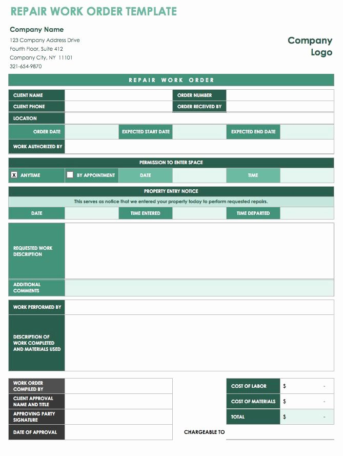 Maintenance Work order Template Excel Lovely 15 Free Work order Templates