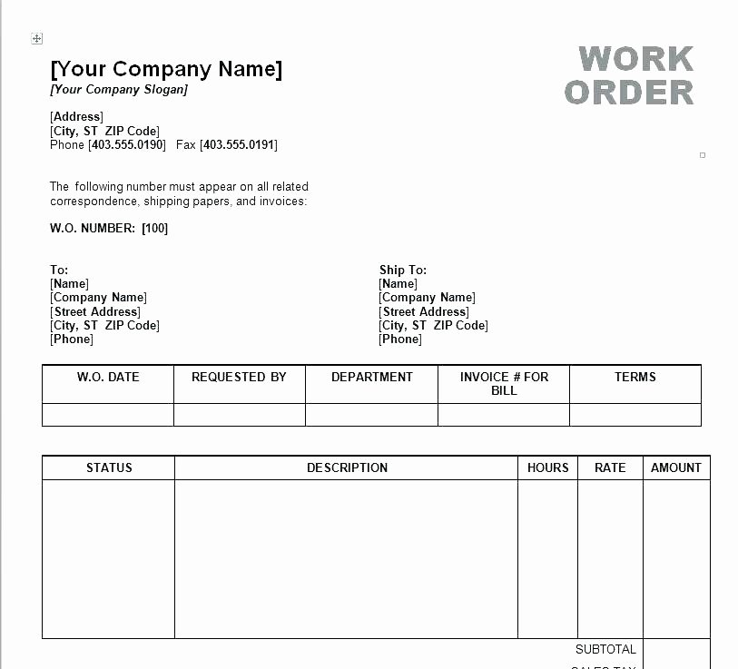Maintenance Work order Template Excel Luxury Work order Template Excel forms Bookbinder Co Purchase