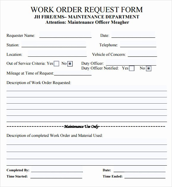 Maintenance Work order Template Excel New 14 Work order Samples – Pdf Word Excel Apple Pages
