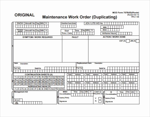 Maintenance Work order Template Excel New 8 Sample Maintenance Work order forms