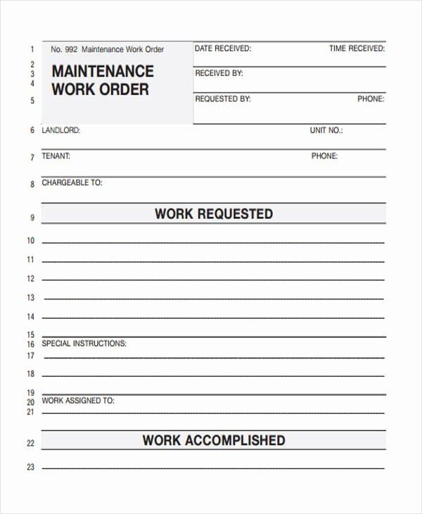Maintenance Work order Template Fresh 28 Work order Templates Ai Psd