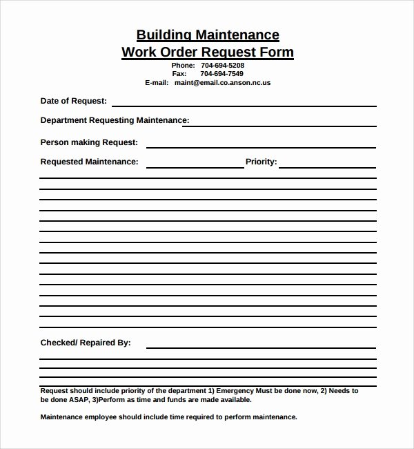 Maintenance Work order Template Fresh 8 Sample Maintenance Work order forms