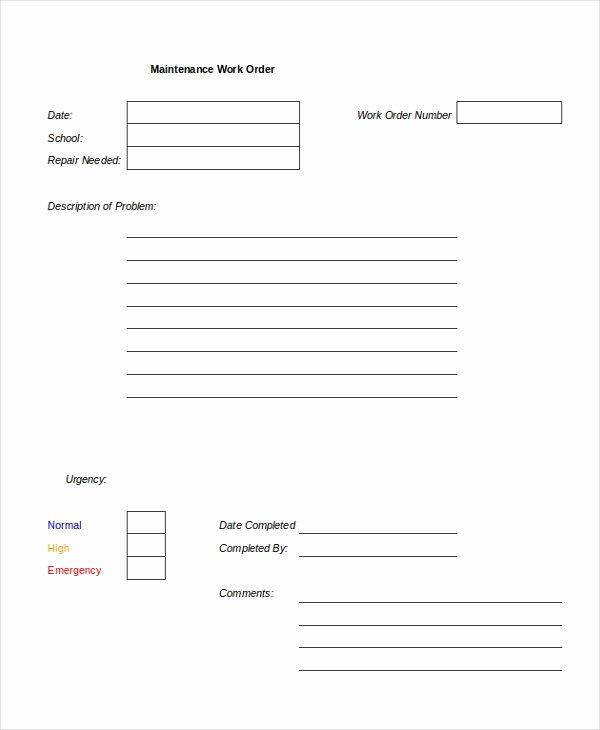 Maintenance Work order Template Lovely Excel Work order Template 13 Free Excel Document