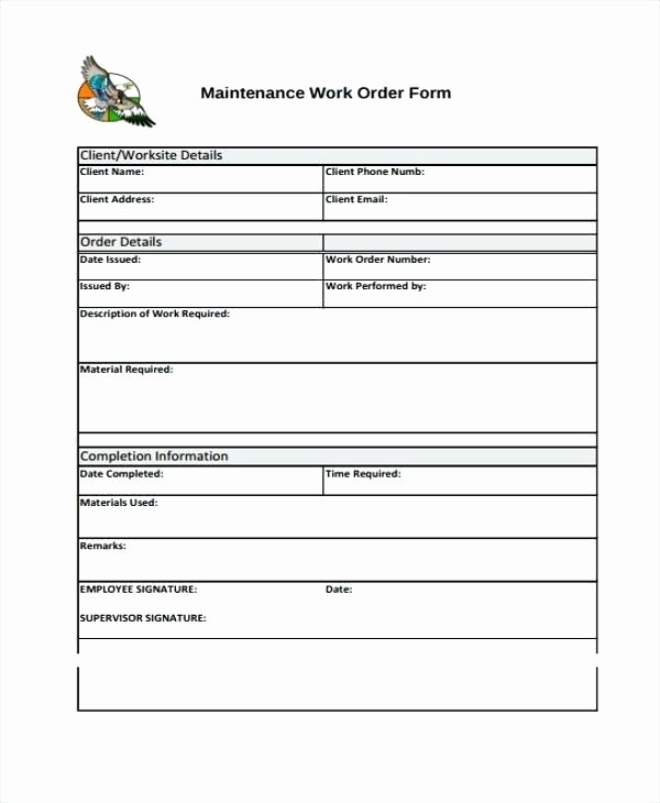 Maintenance Work order Template New Work Request Template Excel Maintenance Work order