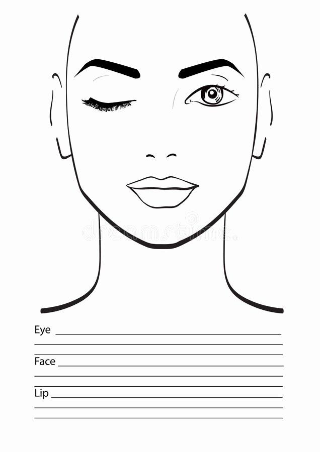 Makeup Artist Website Template Beautiful Face Chart Makeup Artist Blank Stock Illustration