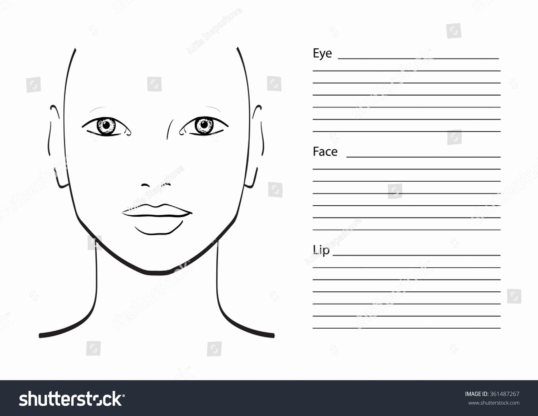 Makeup Artist Website Template Beautiful Face Chart Makeup Artist Blank Template Stock Vector