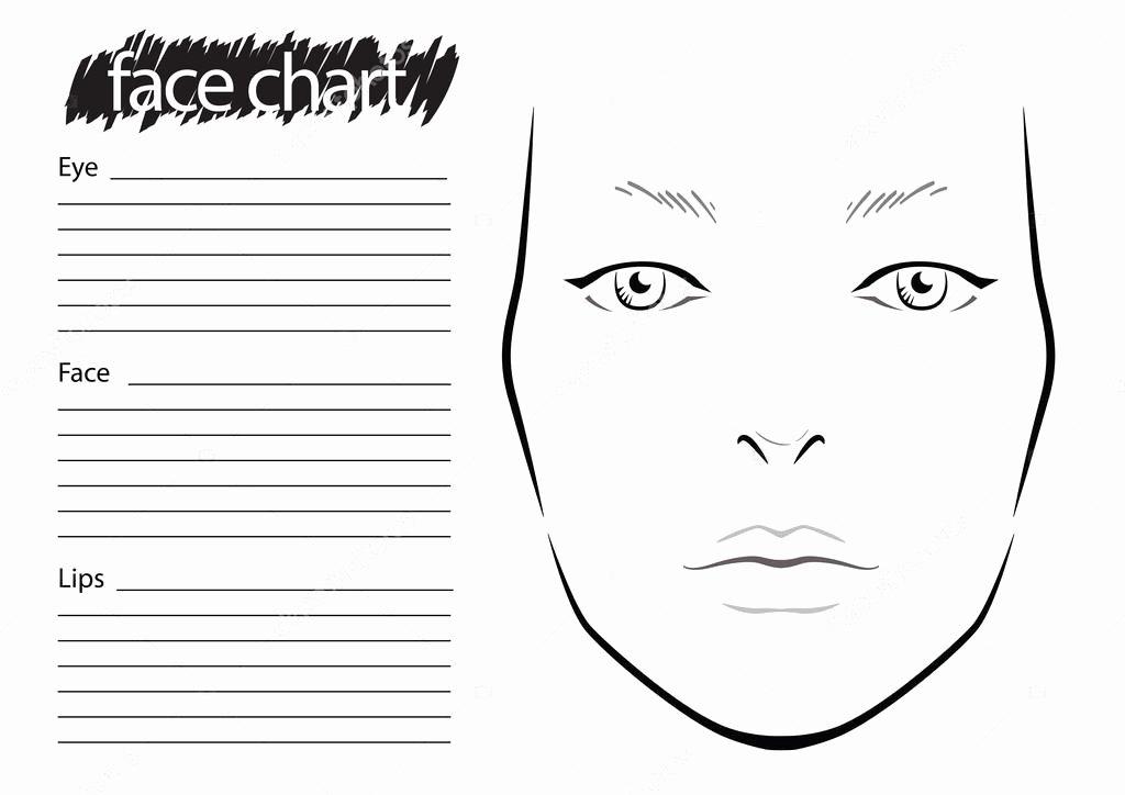 Makeup Artist Website Template Elegant Face Chart Makeup Artist Blank — Stock Vector