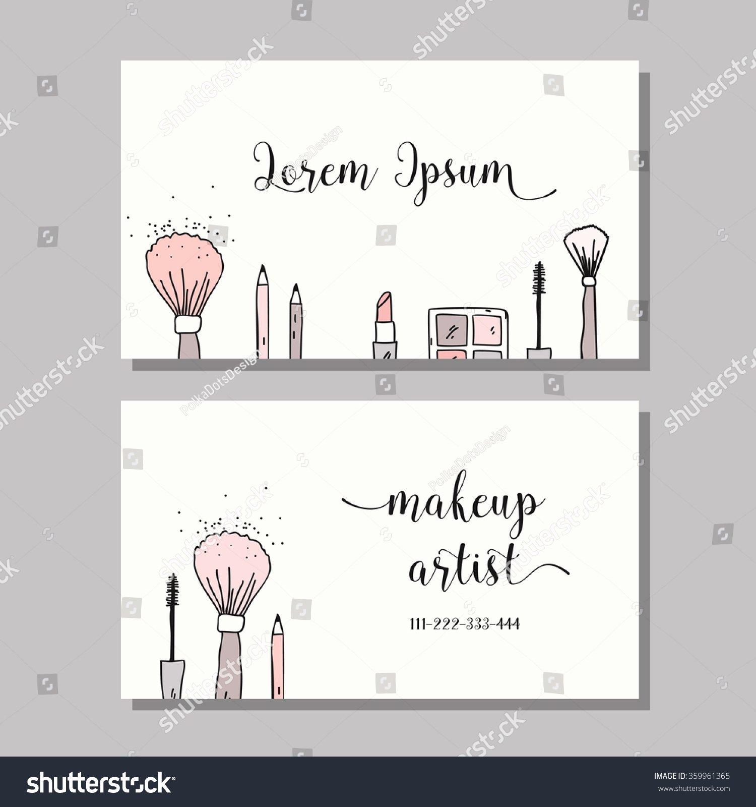 Makeup Artist Website Template Fresh Makeup Artist Business Card Vector Template Stock Vector