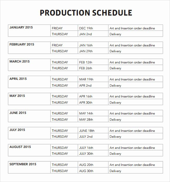Manufacturing Production Schedule Template New 7 Production Schedule Templates Download for Free