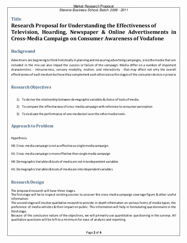 Market Research Proposal Template Beautiful Vodafone Market Research Proposal