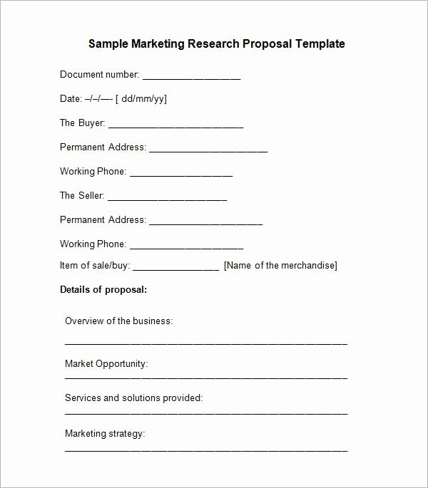 Market Research Proposal Template Best Of 10 Sample Research Proposal Templates